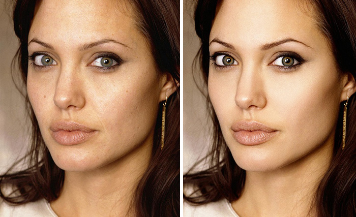 20 Before & After Images Of Celebs Reveal Society's Unrealistic Standards Of Beauty - Angelina Jolie
