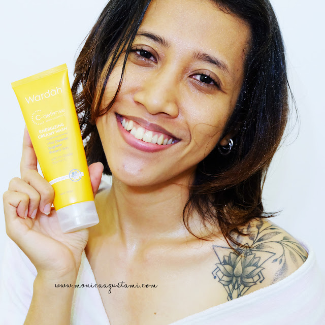 review wardah c-defense energizing creamy wash