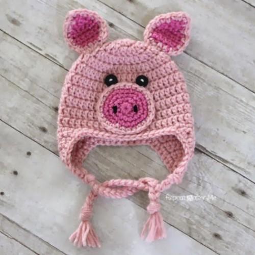 Crochet Pig Hat - Free Pattern