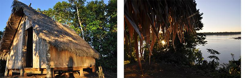 Maison accueil touristes dans la communauté Jivaros Achuar de Napurak. Vue sur le Pastaza