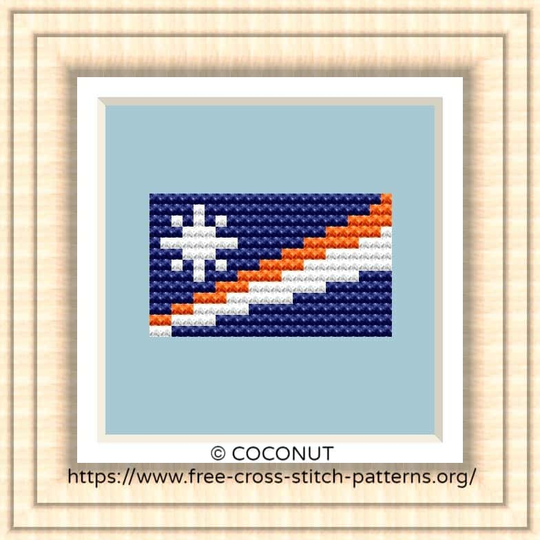 NATIONAL FLAG OF MARSHALL ISLANDS CROSS STITCH CHART