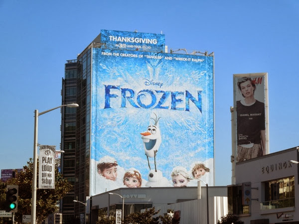 Giant Frozen movie billboard Sunset Strip
