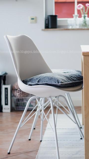 Teppich neu von benuta, Teppich online bestellen, Teppich Inspiration, welcher Teppich für Esszimmer, Outdoorteppich, Stuhl im Eameslook, Plasticchair white