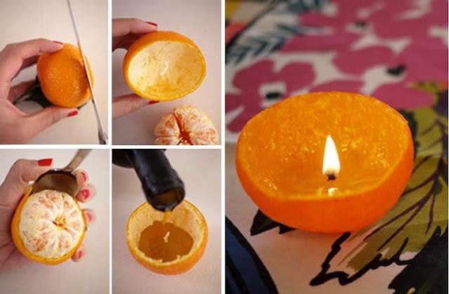 portakal kabuklarından mum yapımı