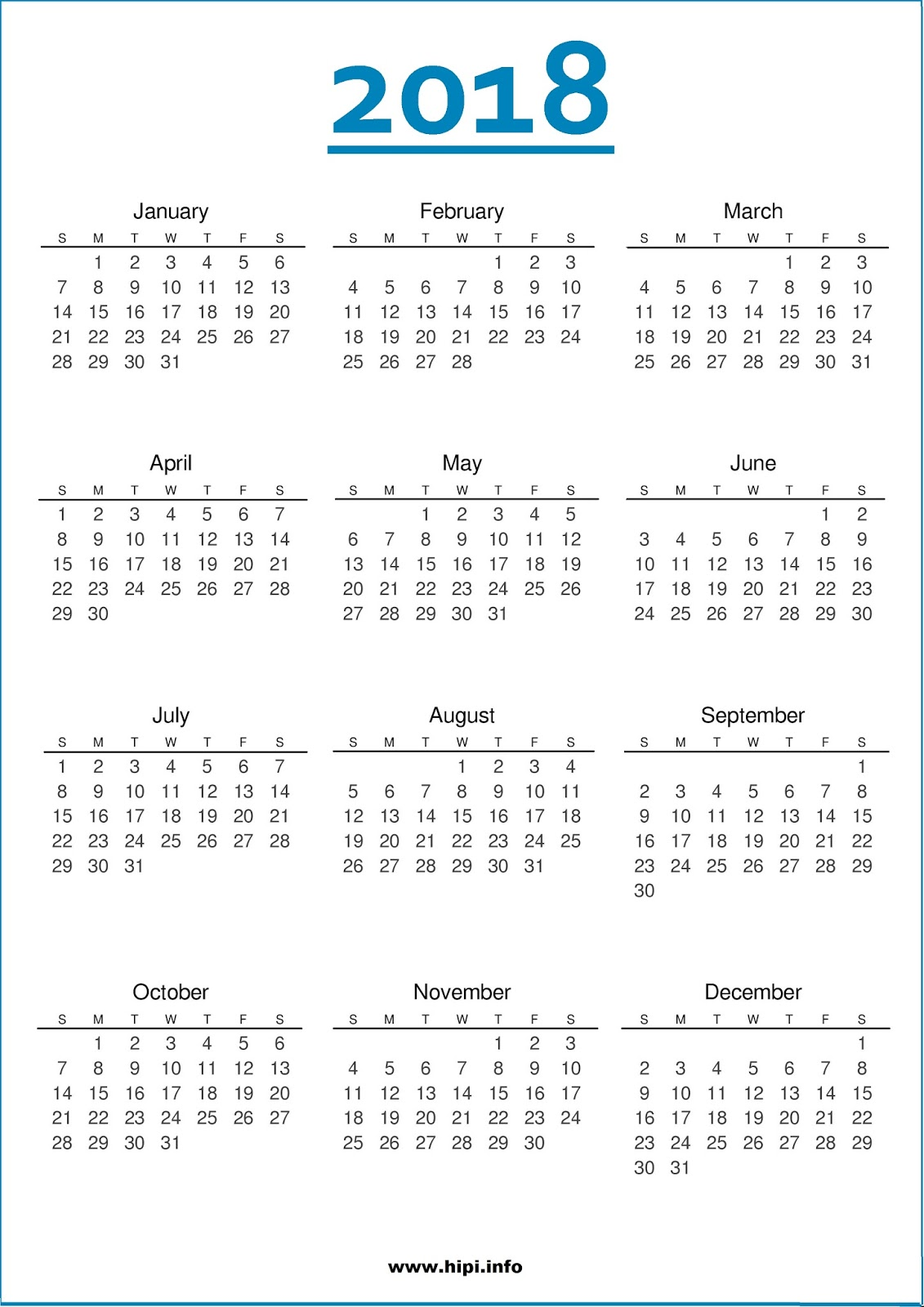 printable one page 2018 calendar   Physic.minimalistics.co