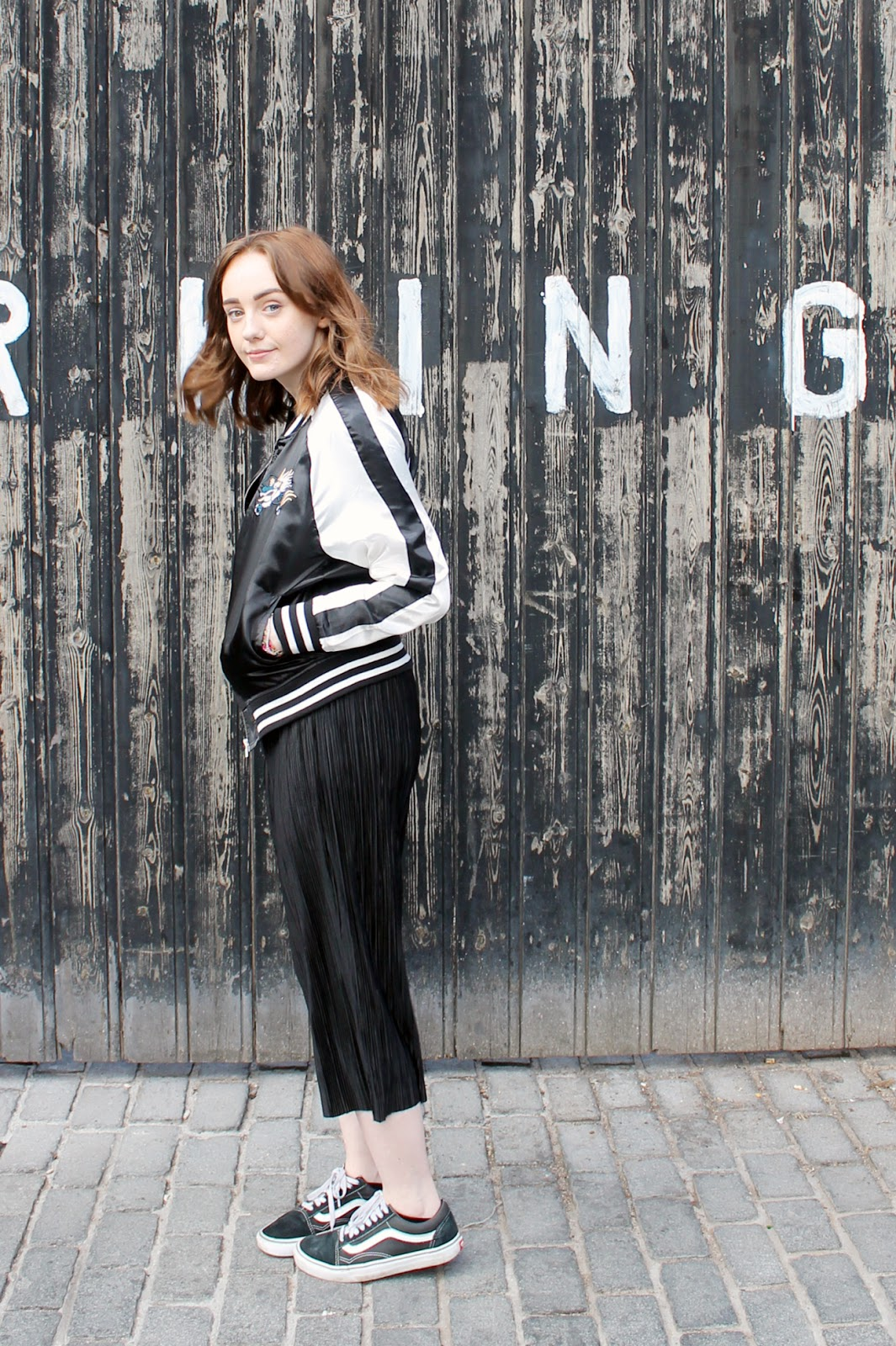 Tokyo souvenir jacket, black pleated culottes and old skool Vans