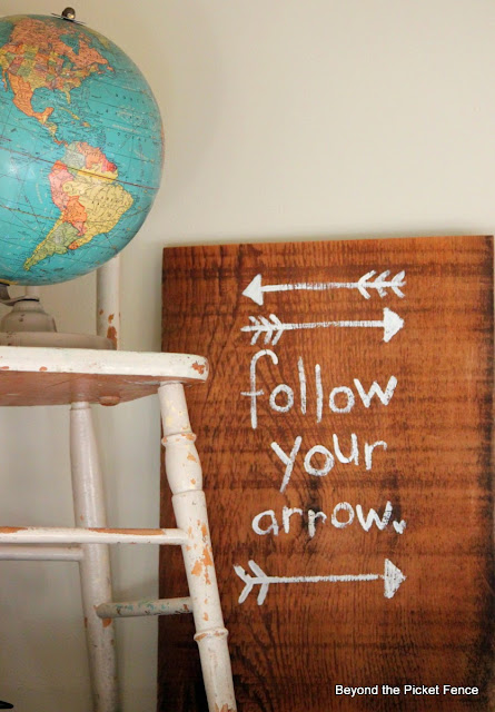 Follow Your Arrow Rustic Sign on reclaimed Wood