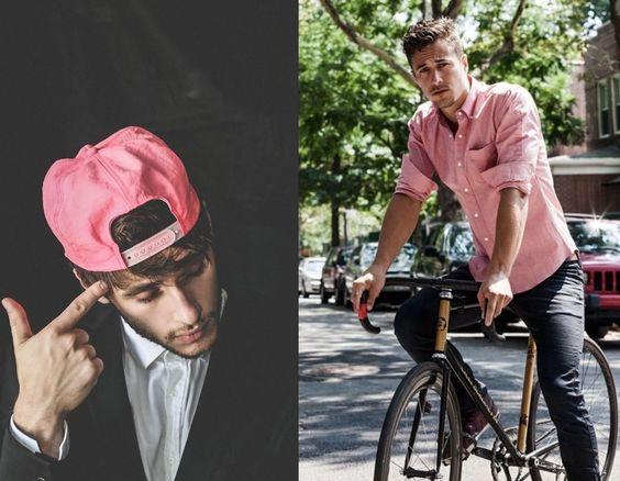 look masculino rosa camiseta