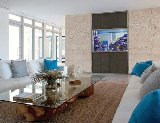 Aquarium Coastal Living Room Design