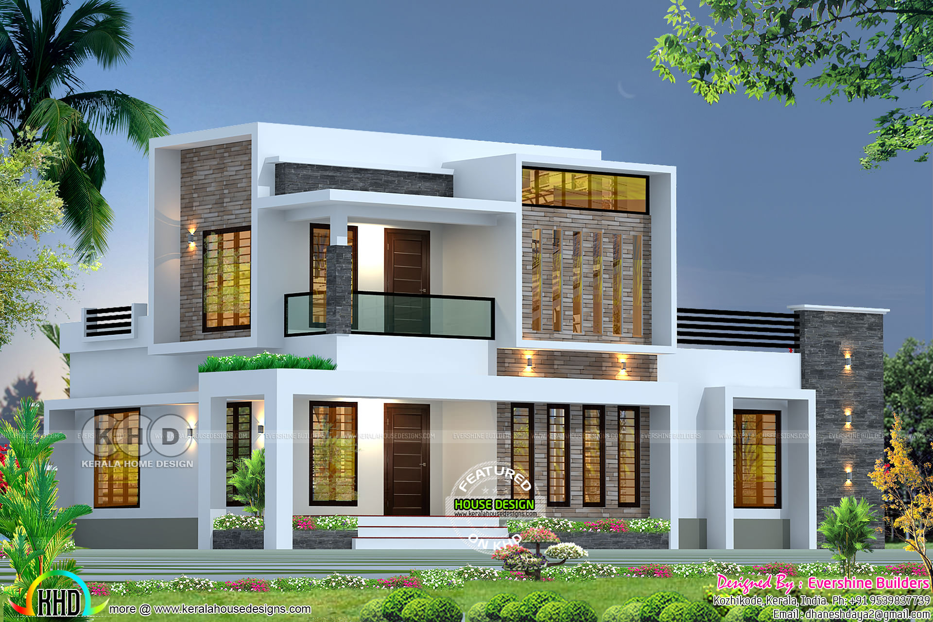 Box Model Modern 2200 Square Feet House Kerala Home