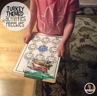 Turkey Colors is a fun hands on activity to help students work on color identification. #Turkeyactivities #preschoolhool classrooms.