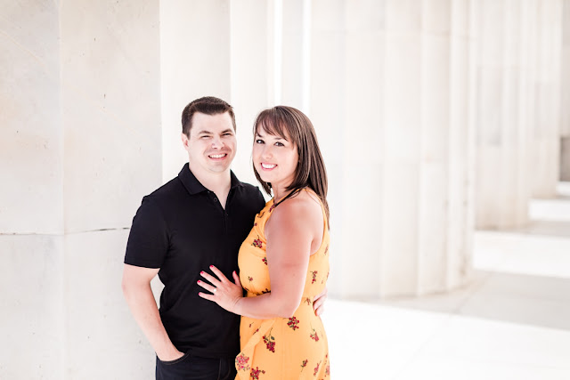 Summer Sunrise Engagement Session at the Lincoln Memorial photographed by Heather Ryan Photography
