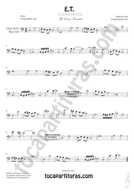 Trombón, Tuba Elicón y Bombardino Partitura de ET Sheet Music for Trombone, Tube, Euphonium Music Scores (tuba en 8ª baja)