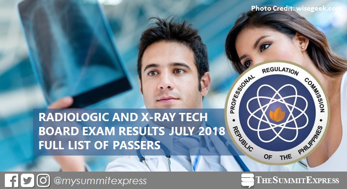 FULL RESULTS: July 2018 Radtech, X-Ray Technologist board exam list of passers