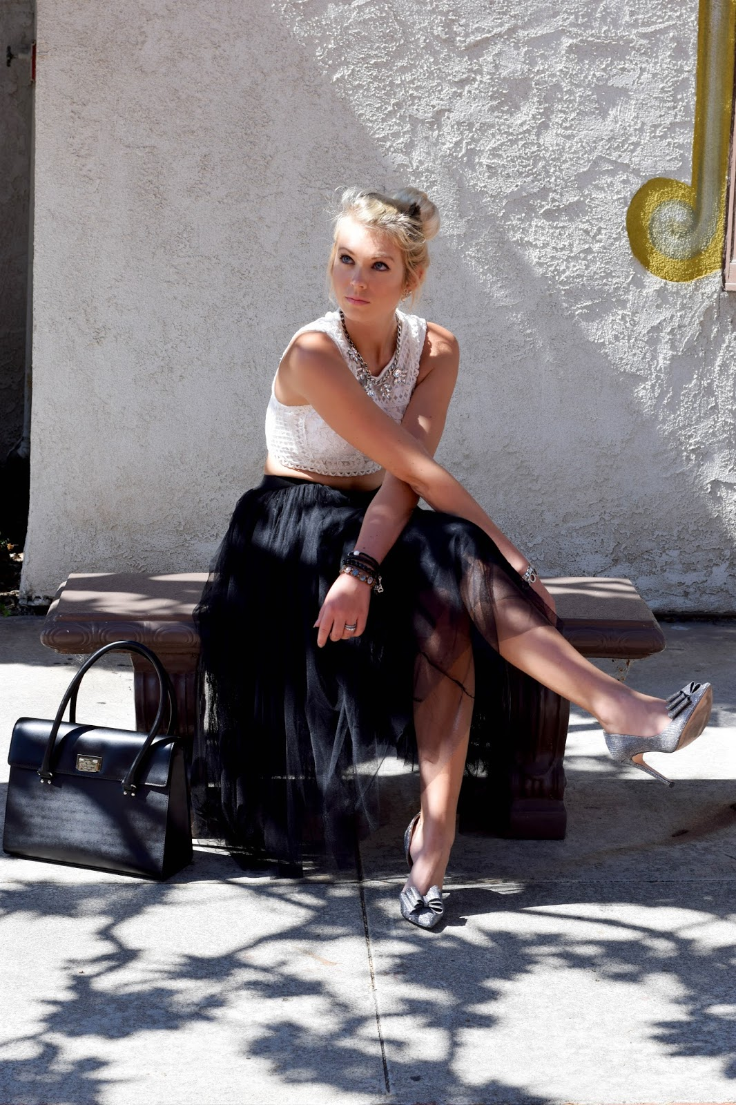 zaful skirt, tulle skirt, how to wear tulle skirt, how to style tulle skirt, corp top, kate spade, kate spade purse, tulle