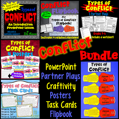 Types of Conflict Resources- a PowerPoint, task cards, posters, a craftivity, partner plays, and more!