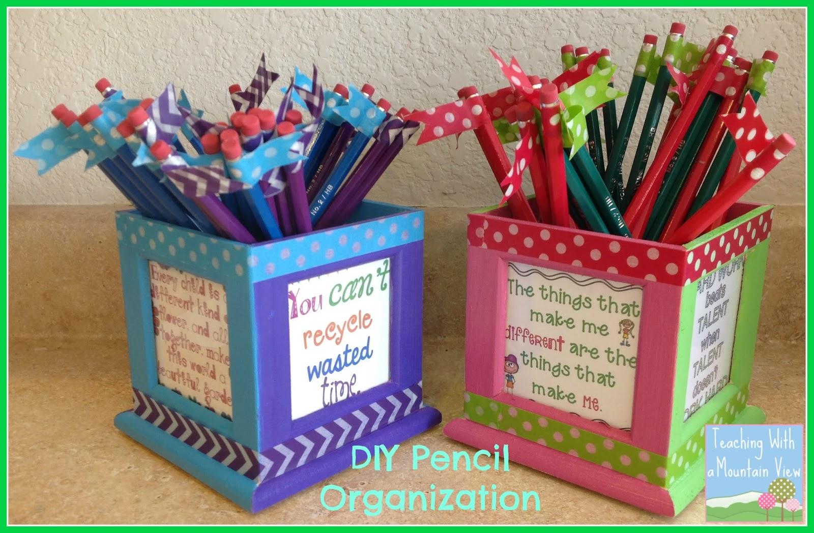 Teaching With A Mountain View Diy Pencil Organizer