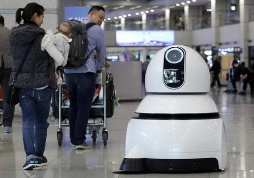 Tinuku South Korea operates the Troika robot to serve at airport