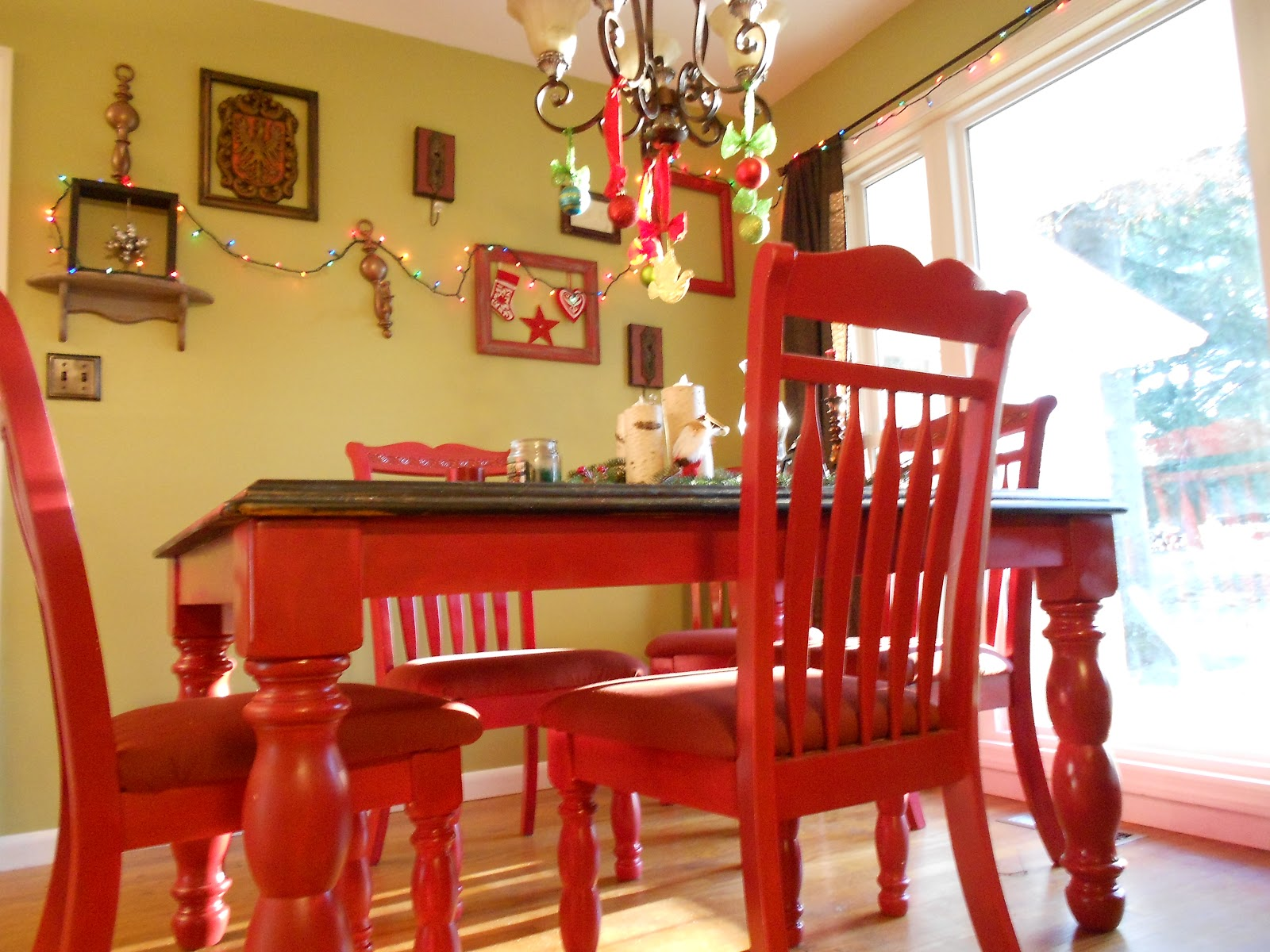 Red Kitchen Table Set Tile Staceysgreatadventure Refinishing A