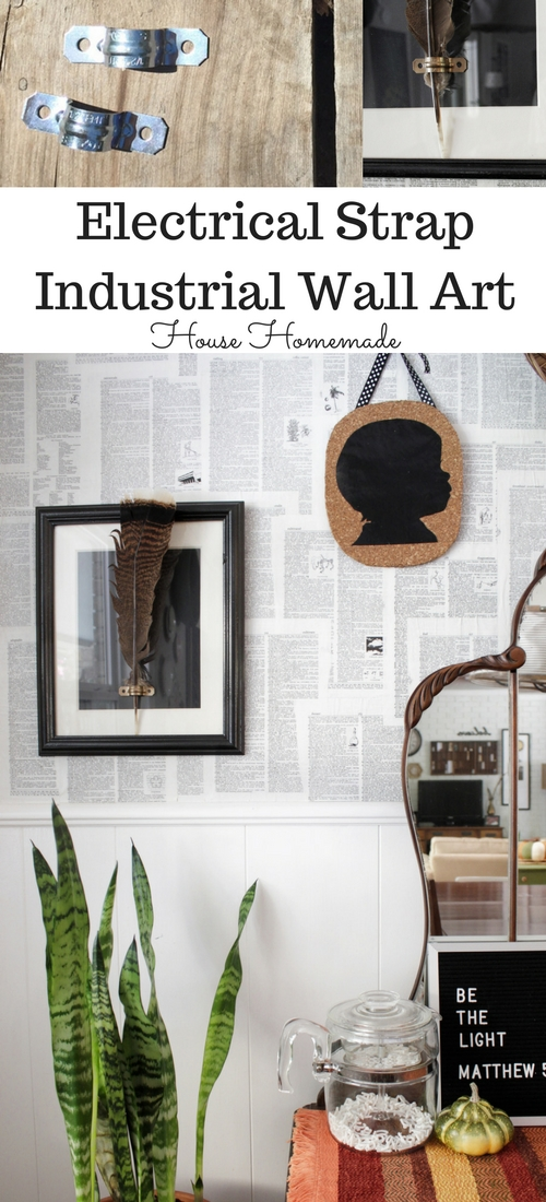 Use simple and inexpensive hardware store parts and a thrifted frame for an industrial looking art piece.
