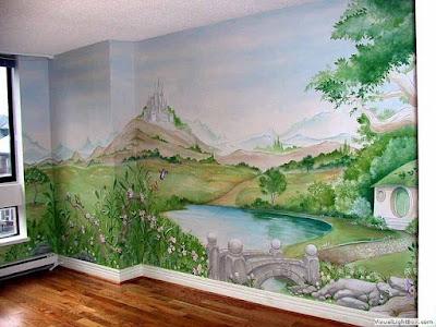 Lukis dinding pemandangan untuk sekolahan