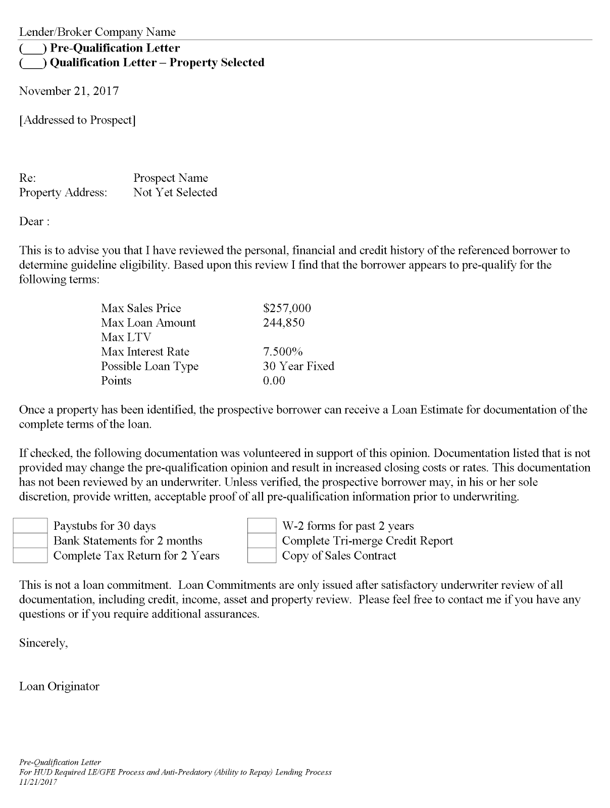 Pre Qualification Letter Without Credit Check