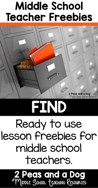 Ready to use lesson freebies for middle school teachers from the 2 Peas and a Dog blog.