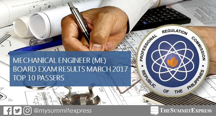 Top 10 Passers: March 2017 Mechanical Engineer ME, CPM board exam Topnotchers