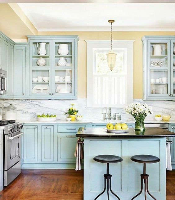 Eye For Design Oh Those Tiffany Colored Kitchens