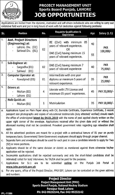 Project Management Unit Sports Board Punjab jobs 2019