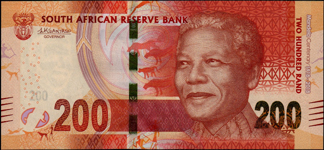 South African Currency 200 Rand Commemorative banknote 2018 Nelson Mandela Centenary