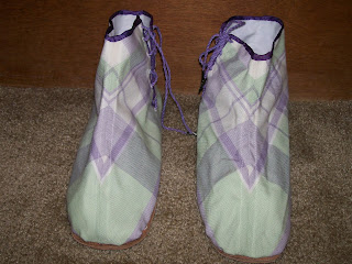 Front view of Victorian-style ankle boots (gaiters) with chevron.