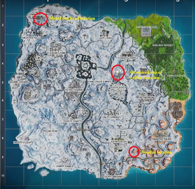 Fortnite BR, Dance Locations Map, Season 7, Week 9, Sundial, Cup of Coffee, Dog Head