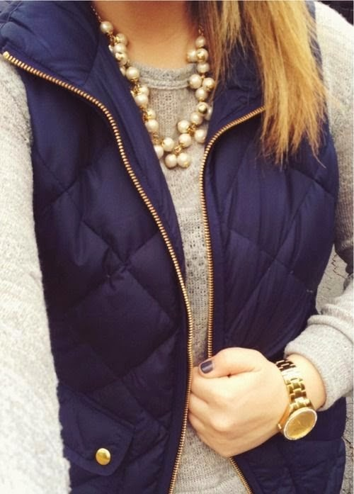 Fulfy Navy Vest With Plain Sweater