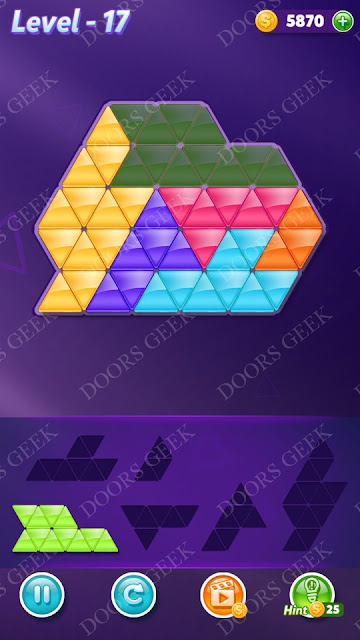 Block! Triangle Puzzle Intermediate Level 17 Solution, Cheats, Walkthrough for Android, iPhone, iPad and iPod