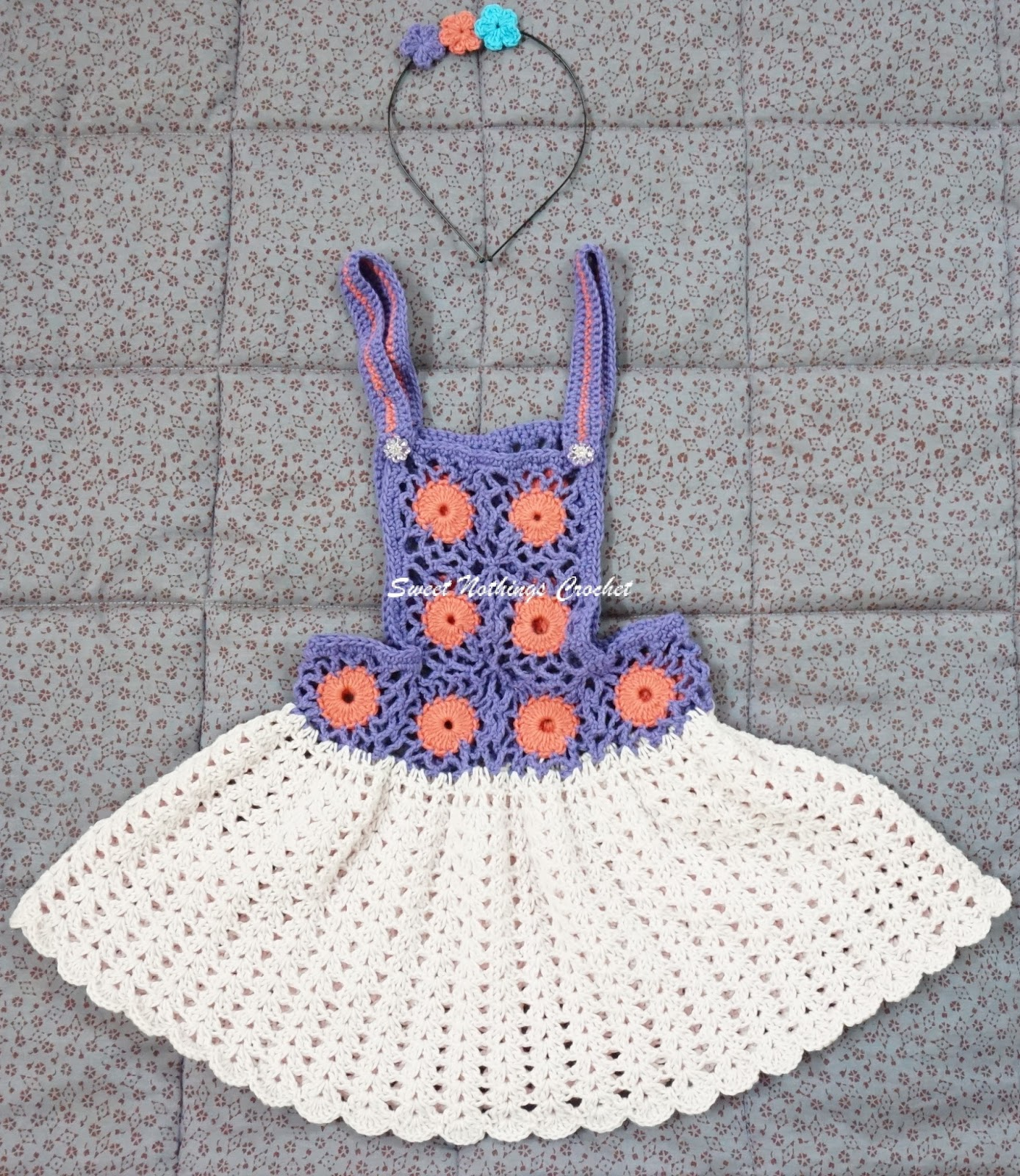 Sweet Nothings Crochet: PINAFORE BABY DRESS - 2 with matching headband
