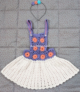 Sweet Nothings Crochet PINAFORE BABY DRESS - 2 with matching headband, crochet baby dress pattern, crochet motif pattern, crochet granny square pattern, crochet bolero pattern, crochet pinafore girls dress pattern, crochet girls dress pattern, crochet headband pattern, crochet flower motif pattern, crochet girl stuff pattern