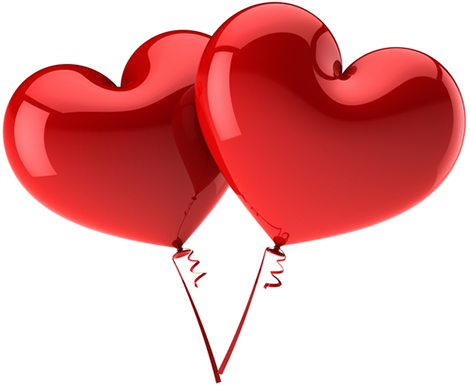 Two heart balloons