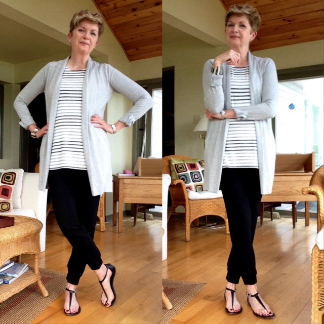 Joggers and striped tee from Aritzia cardigan from Green Tree Eco Fashion, sandals Michael Kors
