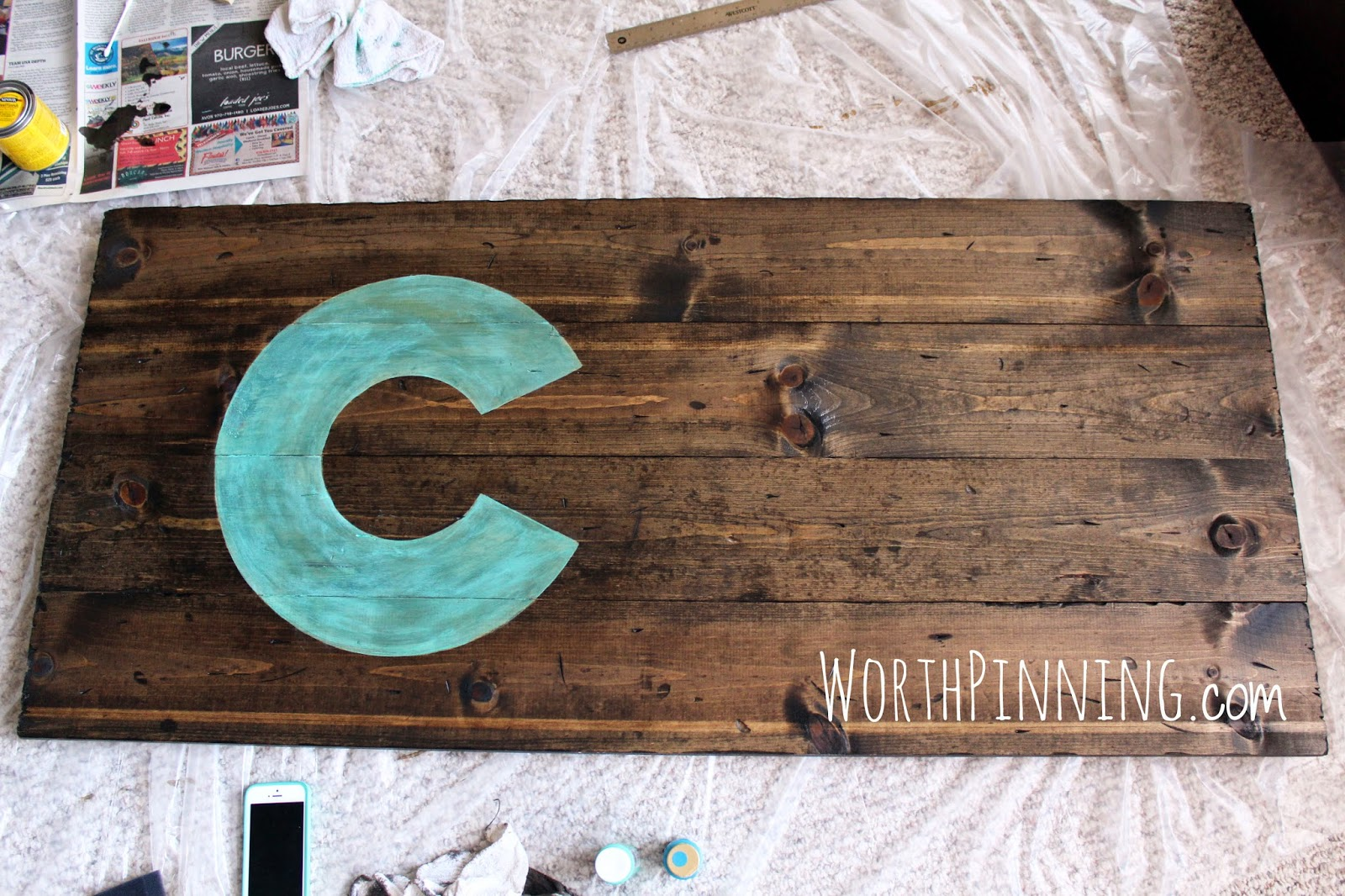 Using Some Teal Acrylic Paint I Brightened Up The C If You Like Look Of Color Stain Use Otherwise Can Skip And