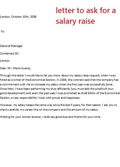 letter to ask for a salary raise