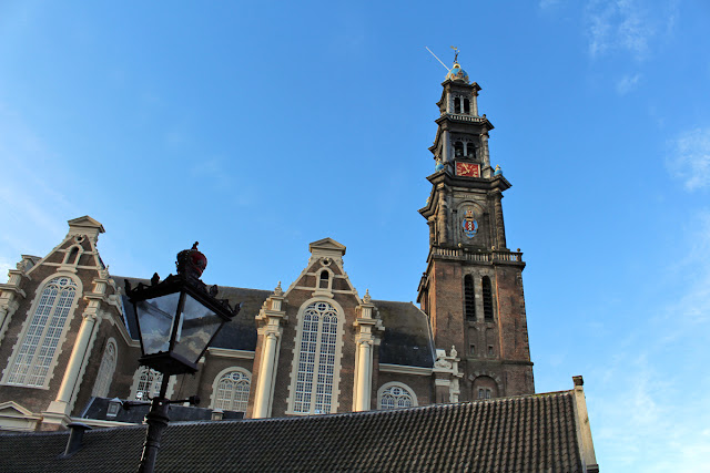 The Butterfly Balcony - Wendy's Week Liverpool to Amsterdam - View of the Westerkerk (West Church) and tower from outside Anne Frank museum