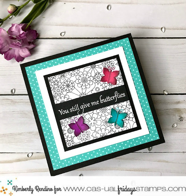 handmade card by Kimberly Rendino | CAS-ual Fridays Stamps | Floral | Butterflies | you give me butterflies | kimpletekreativity.blogspot.com
