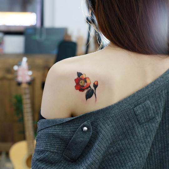 Colorful Shoulder Flower Tattoos For Girls