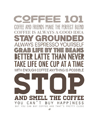 LostBumblebee ©2016 MDBN : COFFEE 101 HOME DECOR PRINTABLE : PERSONAL USE ONLY : DONATE TO DOWNLOAD : www.lostbumblebee.net