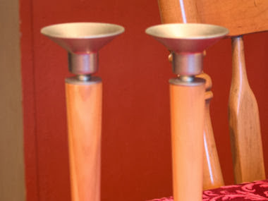 A Set of Candlestick holders get an amazing new look... makeover time diy style