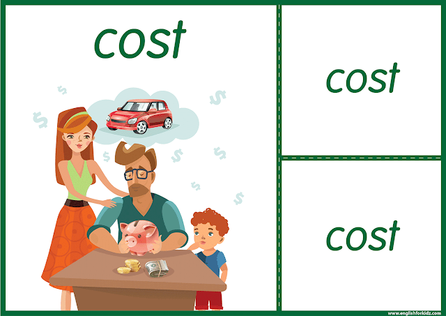 Irregular verb cost - printable ESL flashcards
