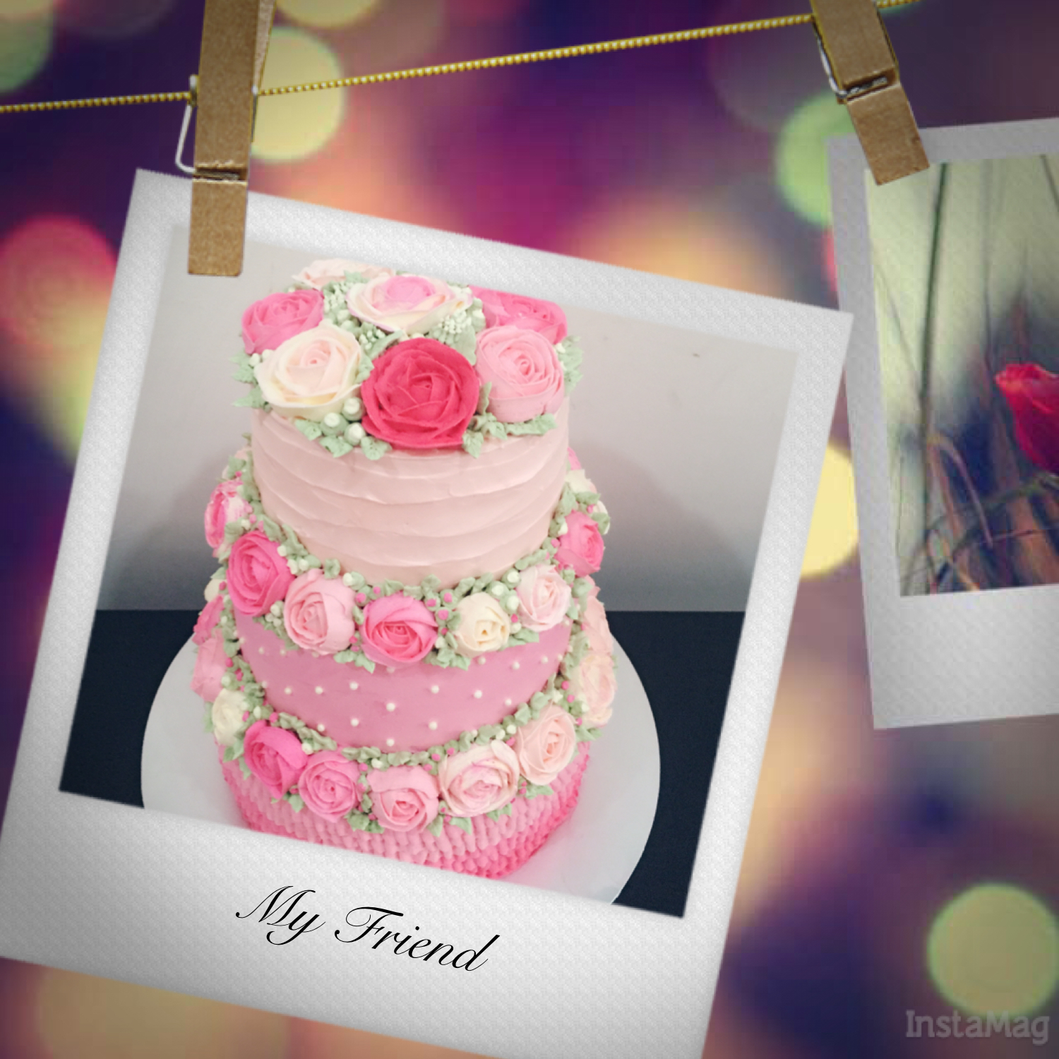 Cherish Bakes: Customised A Pink Color Theme 3-tier Wedding Cake ...