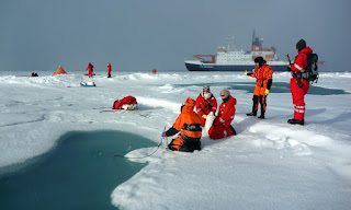 arctic ice sampling, plastic in Arctic ice