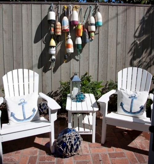 Small Nautical Theme Cottage with Nantucket Flair ... on Nautical Patio Ideas  id=88891